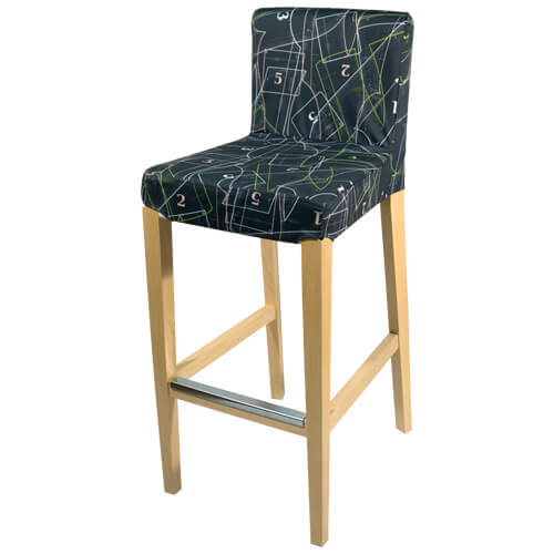 wooden bar stool with fabric seats