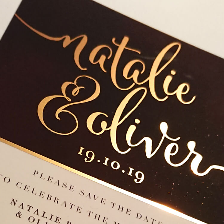 foil wedding invitation card