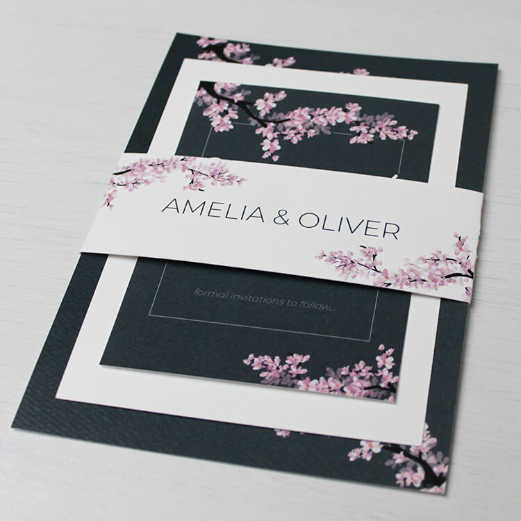 Invitations card with belly bands