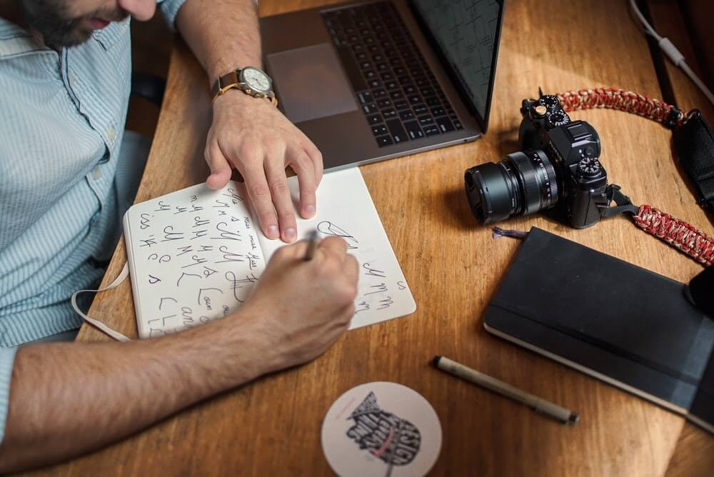 graphic design workplace with DSLR